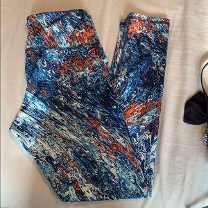 Blue and orange squiggle leggings